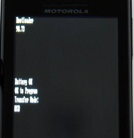 Motorola Milestone Bootloader Screen
